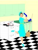 13513007-a-women-in-the-50-s-is-doing-her-household-chores-in-the-kitchen-cleaning-up-this--retro-cartoon-sho